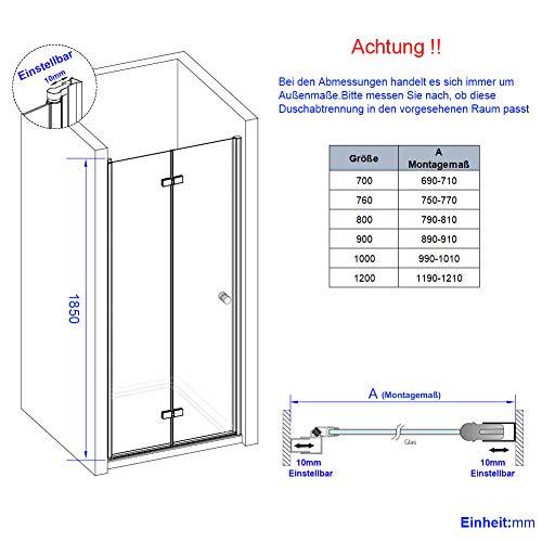 Duschkabine Dusche Falttür Duschabtrennung Duschtür Duschwand aus Sicherheitsglas 70 x 185 cm - 7