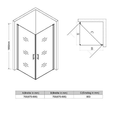 Rahmenlose Duschkabine mit Schwingtüren aus Klarglas - 7