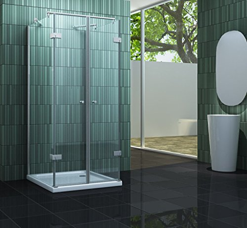 Rahmenlose U-Form Duschkabine CONFINO wahlweise mit Duschtasse