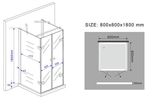 Rahmenlose U-Form Duschkabine CONFINO wahlweise mit Duschtasse - 6