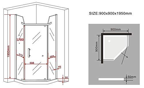 Fünfeck-Duschkabine PENTAGONO mit Beschichtung zur leichteren Reinigung - 6