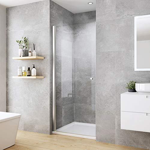 WELMAX 70 x 185 cm Duschtür Duschkabine 6mm ESG Glas Pendeltür Dusche Duschabtrennung mit Beidseitiger Nano Beschichtung