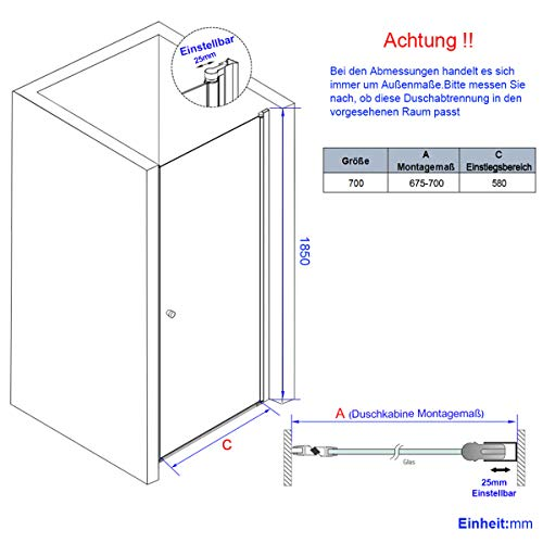 WELMAX 70 x 185 cm Duschtür Duschkabine 6mm ESG Glas Pendeltür Dusche Duschabtrennung mit Beidseitiger Nano Beschichtung - 7