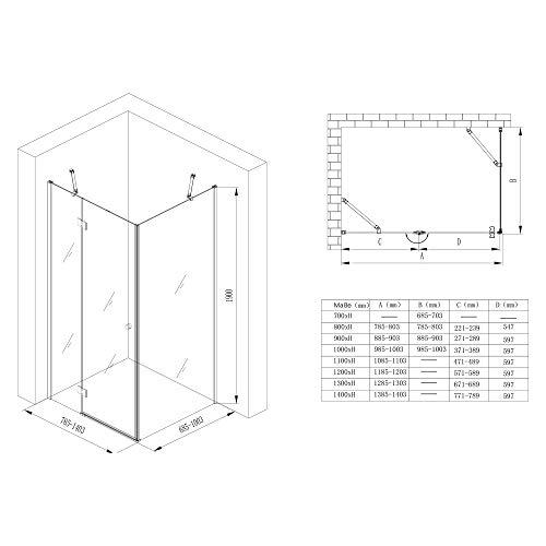 Duschabtrennung Klarglas 70x80, 6mm ESG-Sicherheitsglas, Duschwand aus Echtglas, Nanobeschichtung, Duschkabine R05k - 7