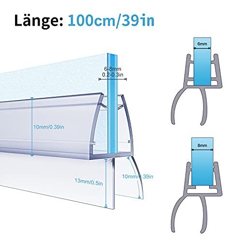 4 x 100cm Duschdichtungen für Duschtüren, 6mm 7mm 8mm Dichtung Dusche Glastür, Transparent Duschdichtung Glasdicke, Wasserabweisende Ersatzdichtung für Dusche, Schwallschutz Dichtkeder - 5