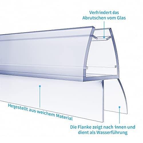 4 x 100cm Duschdichtungen für Duschtüren, 6mm 7mm 8mm Dichtung Dusche Glastür, Transparent Duschdichtung Glasdicke, Wasserabweisende Ersatzdichtung für Dusche, Schwallschutz Dichtkeder - 3