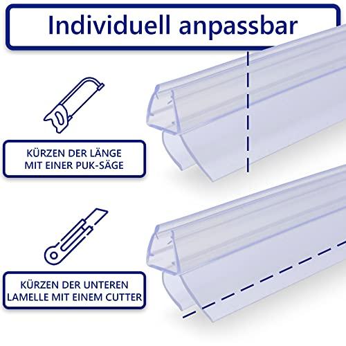 VILSTEIN Duschdichtung für Duschtüren 2x 100cm Länge, kürzbar, 6, 7, 8mm Glasstärke, Duschlippen und Wasserabweisprofil - 6