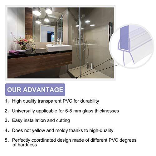 3 x 100cm Duschdichtung, H-Typ Duschtürdichtung für 6mm, 7mm, 8mm Glasdicke Duschkabinen Dichtungen, Dichtung Dusche Glastür mit Wasserabweiser - 2
