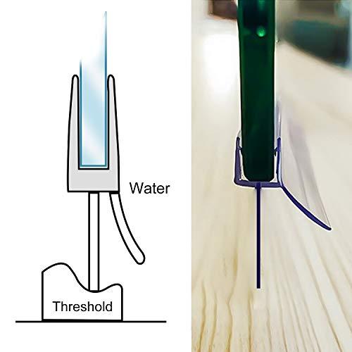 3 x 100cm Duschdichtung, H-Typ Duschtürdichtung für 6mm, 7mm, 8mm Glasdicke Duschkabinen Dichtungen, Dichtung Dusche Glastür mit Wasserabweiser - 4