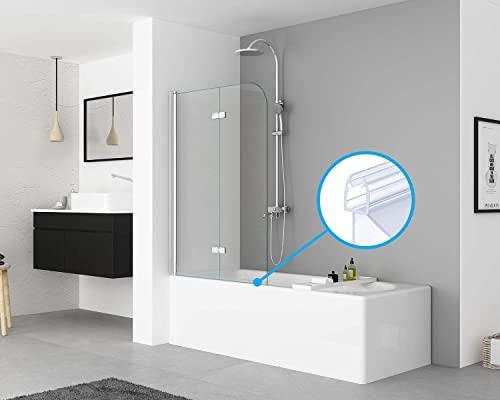 IMPTS 2 Stück dichtung dusche, Dichtungen für 5mm 6mm Duschwand Glastür Glasdicke, Ersatzdichtung Duschkabine Wasserabweiser Duschdichtung Schwallschutz Dichtkeder - Transparent - 2