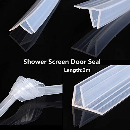 200cm F Shape Duschtür Dichtung Duschdichtung Wasserabweiser Dusche Glastür für 8mm Glasdicke - 2