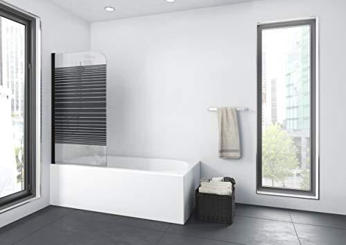 MARWELL BLACK LINES Badewannenaufsatz 75 x 140 cm 1-teilig - aus 4mm starken Einscheibensicherheitsglas, matt schwarzes Design - 2