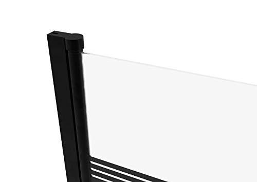 MARWELL BLACK LINES Badewannenaufsatz 75 x 140 cm 1-teilig - aus 4mm starken Einscheibensicherheitsglas, matt schwarzes Design - 6