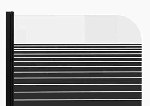 MARWELL BLACK LINES Badewannenaufsatz 75 x 140 cm 1-teilig - aus 4mm starken Einscheibensicherheitsglas, matt schwarzes Design - 5