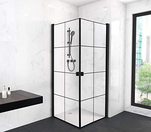 Duschkabine CLEAN LINE 90x90 cm in matt schwarz