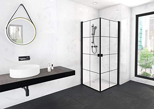 MARWELL 90 x 90 x 200 cm CLEAN LINE Glasdusche, Matt Schwarz - 2