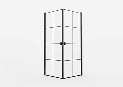 MARWELL 90 x 90 x 200 cm CLEAN LINE Glasdusche, Matt Schwarz - 5