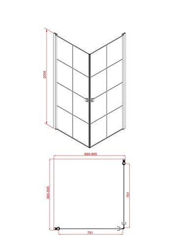 MARWELL 90 x 90 x 200 cm CLEAN LINE Glasdusche, Matt Schwarz - 6