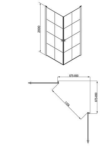 MARWELL 90 x 90 x 200 cm CLEAN LINE Glasdusche, Matt Schwarz - 7