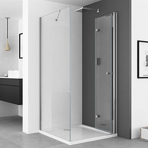 IMPTS Duschkabine 70 x 70 cm Duschtür Falttür mit 70cm Seitenwand Duschabtrennung 6mm ESG Sicherheitsglas 185cm Höhe, OHNE Duschwanne - 6