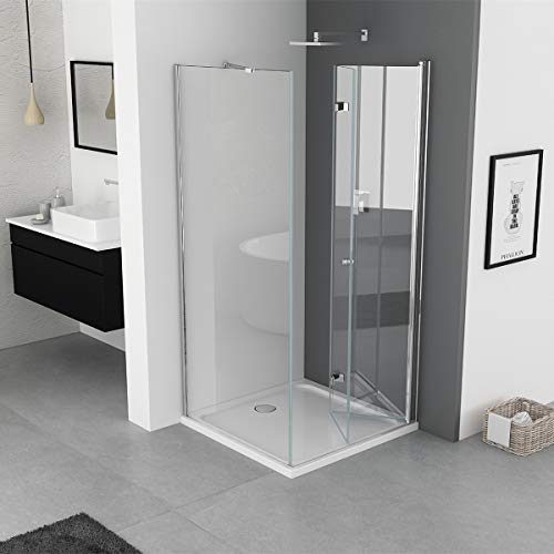 IMPTS Duschkabine 70 x 70 cm Duschtür Falttür mit 70cm Seitenwand Duschabtrennung 6mm ESG Sicherheitsglas 185cm Höhe, OHNE Duschwanne - 3