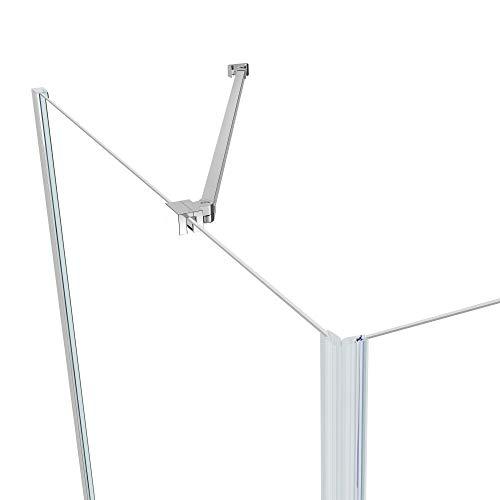 IMPTS Duschkabine 70 x 70 cm Duschtür Falttür mit 70cm Seitenwand Duschabtrennung 6mm ESG Sicherheitsglas 185cm Höhe, OHNE Duschwanne - 5