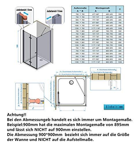 IMPTS Duschkabine 70 x 70 cm Duschtür Falttür mit 70cm Seitenwand Duschabtrennung 6mm ESG Sicherheitsglas 185cm Höhe, OHNE Duschwanne - 7