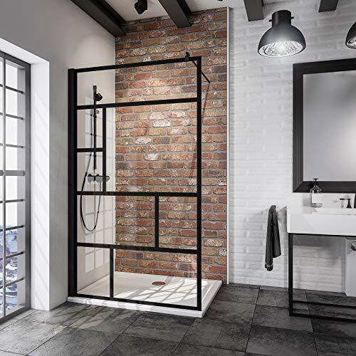 Schulte D369106 68 1660 Duschwand Alexa Style 2.0 Walk In Black Style, 90 x 200 cm, 6 mm Sicherheitsglas Dekor Atelier 1 fixil beschichtet, schwarz matt, Montage auf Duschwanne oder Fliese - 2