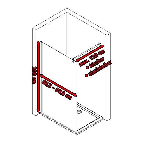 Schulte D369106 68 1660 Duschwand Alexa Style 2.0 Walk In Black Style, 90 x 200 cm, 6 mm Sicherheitsglas Dekor Atelier 1 fixil beschichtet, schwarz matt, Montage auf Duschwanne oder Fliese - 3