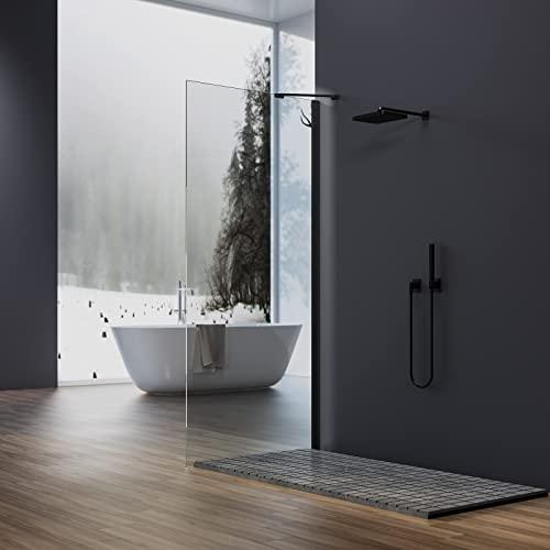 Walk In Duschwand mit schwarzem Rahmen und Nanobeschichtung