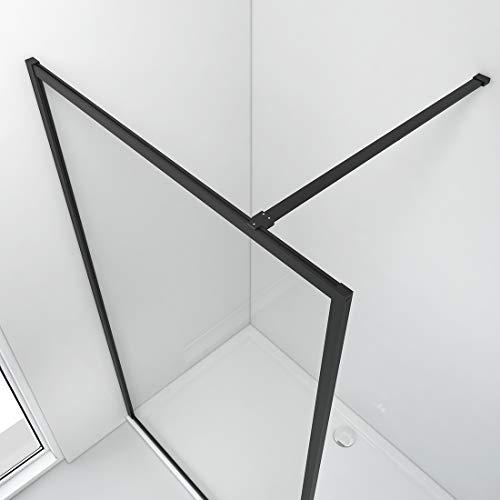 Bath-mann Duschwand Glas Duschabtrennung 100 x 200 cm Walk-in Dusche Duschkabine mit Stabilisator aus Echtglas 8mm ESG-Sicherheitsglas Klarglas Nanobeschichtung, Höhe: 200cm - Schwarzer Rahmen - 2