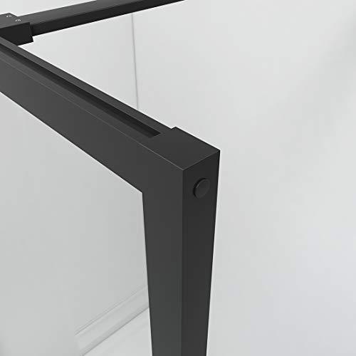 Bath-mann Duschwand Glas Duschabtrennung 100 x 200 cm Walk-in Dusche Duschkabine mit Stabilisator aus Echtglas 8mm ESG-Sicherheitsglas Klarglas Nanobeschichtung, Höhe: 200cm - Schwarzer Rahmen - 4