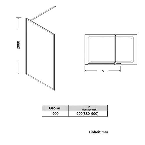 Bath-mann Duschwand Glas Duschabtrennung 100 x 200 cm Walk-in Dusche Duschkabine mit Stabilisator aus Echtglas 8mm ESG-Sicherheitsglas Klarglas Nanobeschichtung, Höhe: 200cm - Schwarzer Rahmen - 7