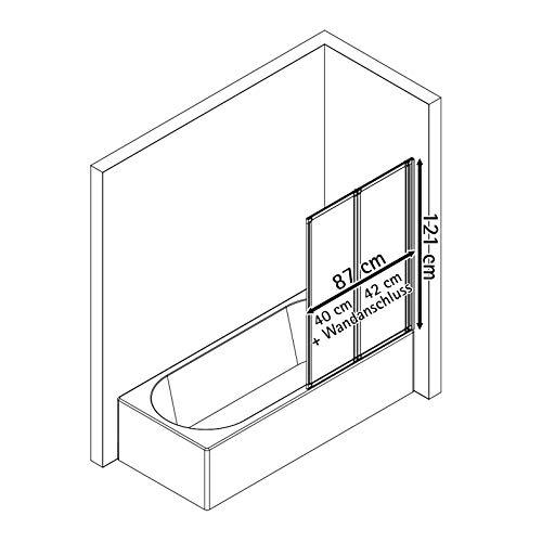 Schulte Duschwand Smart inkl, Klebe-Montage, 87 x 121 cm, 2-teilig faltbar, 3 mm Sicherheitsglas (ESG) Klar hell, Schwarz, Duschabtrennung für Wanne, Montage ohne Bohren in die Fliese - 4