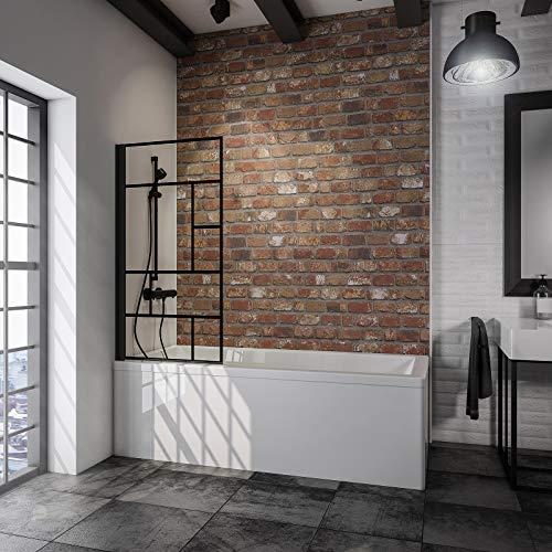 Schulte Duschwand Black Style, 80 x 140 cm, 5 mm Sicherheits-Glas Dekor Atelier 3, schwarz-matt, Duschabtrennung für Badewanne - 2