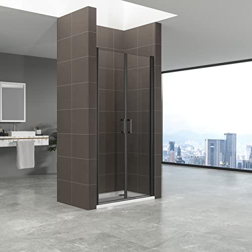 Duschtür STELLA 70x180 cm Nischentür Verstellbereich von 70-73 cm, Höhe: 180 cm, Dusche aus 6 mm Klarglas ESG Sicherheitsglas mit Nano und schwarze Aluminiumprofile - Alle Größen BC - 2