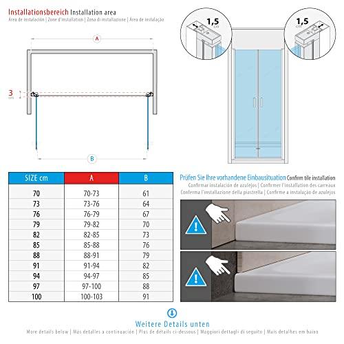 Duschtür STELLA 70x180 cm Nischentür Verstellbereich von 70-73 cm, Höhe: 180 cm, Dusche aus 6 mm Klarglas ESG Sicherheitsglas mit Nano und schwarze Aluminiumprofile - Alle Größen BC - 3