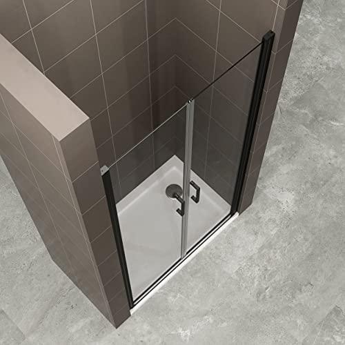 Duschtür STELLA 70x180 cm Nischentür Verstellbereich von 70-73 cm, Höhe: 180 cm, Dusche aus 6 mm Klarglas ESG Sicherheitsglas mit Nano und schwarze Aluminiumprofile - Alle Größen BC - 4