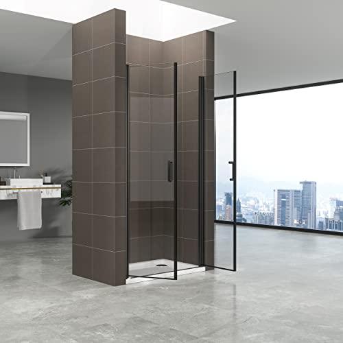 Duschtür STELLA 70x180 cm Nischentür Verstellbereich von 70-73 cm, Höhe: 180 cm, Dusche aus 6 mm Klarglas ESG Sicherheitsglas mit Nano und schwarze Aluminiumprofile - Alle Größen BC - 5