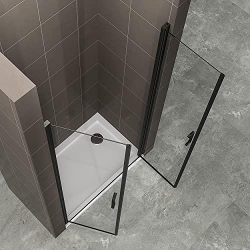 Duschtür STELLA 70x180 cm Nischentür Verstellbereich von 70-73 cm, Höhe: 180 cm, Dusche aus 6 mm Klarglas ESG Sicherheitsglas mit Nano und schwarze Aluminiumprofile - Alle Größen BC - 6