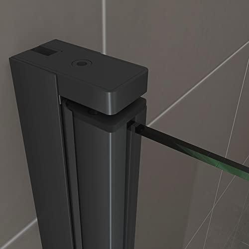 Duschtür STELLA 70x180 cm Nischentür Verstellbereich von 70-73 cm, Höhe: 180 cm, Dusche aus 6 mm Klarglas ESG Sicherheitsglas mit Nano und schwarze Aluminiumprofile - Alle Größen BC - 7