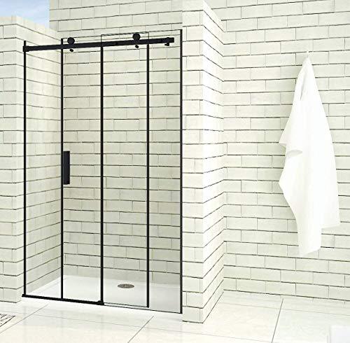 Duschtür mit schwarzem Rahmen, Schiebetüren und Nanobeschichtung