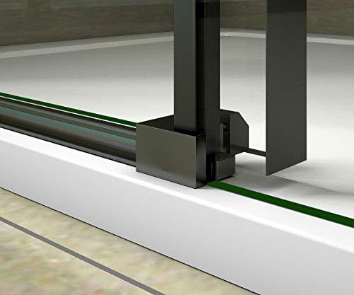Aica Sanitär 100x200cm Duschtür Verstellbereich von 97-100 cm Duschabtrennung Nischentür Dusche Schwarz aus 8mm Sicherheitsglas mit Nanobeschichtung - 6