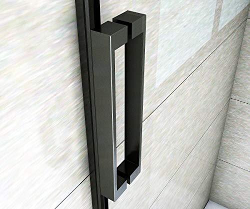 Aica Sanitär 100x200cm Duschtür Verstellbereich von 97-100 cm Duschabtrennung Nischentür Dusche Schwarz aus 8mm Sicherheitsglas mit Nanobeschichtung - 7