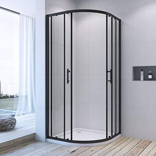 AQUABATOS® 80x80 x 195cm Duschkabine Matt Schwarz eckeinstieg Viertelkreis Rund Dusche Schiebetür Duschabtrennung Runddusche Duschtrennwand aus 6mm ESG Nano Glas - 2