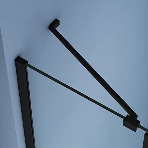 Duschkabine 80x80cm Duschabtrennung Duschtür Schwingtür Pendeltür mit Seitenwand, Duschkabinen Beschlag flächenbündig Schwarz 8mm ESG Sicherheitsglas mit Nano-Beschichtung Höhe 190cm - 3