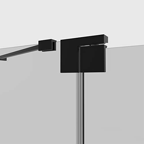 Duschkabine 80x80cm Duschabtrennung Duschtür Schwingtür Pendeltür mit Seitenwand, Duschkabinen Beschlag flächenbündig Schwarz 8mm ESG Sicherheitsglas mit Nano-Beschichtung Höhe 190cm - 5