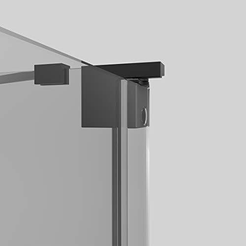 Duschkabine 80x80cm Duschabtrennung Duschtür Schwingtür Pendeltür mit Seitenwand, Duschkabinen Beschlag flächenbündig Schwarz 8mm ESG Sicherheitsglas mit Nano-Beschichtung Höhe 190cm - 6