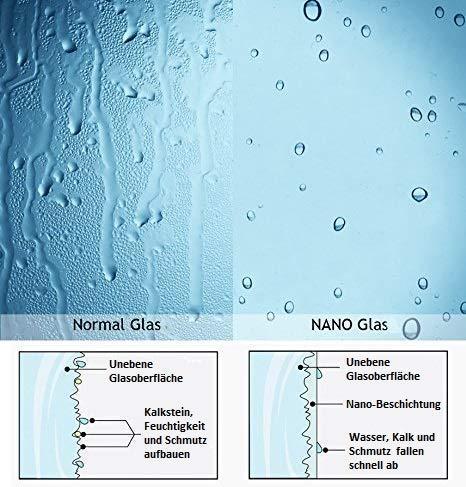 Duschkabine 80x80cm Duschabtrennung Duschtür Schwingtür Pendeltür mit Seitenwand, Duschkabinen Beschlag flächenbündig Schwarz 8mm ESG Sicherheitsglas mit Nano-Beschichtung Höhe 190cm - 8