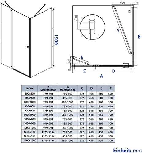 Duschkabine 80x80cm Duschabtrennung Duschtür Schwingtür Pendeltür mit Seitenwand, Duschkabinen Beschlag flächenbündig Schwarz 8mm ESG Sicherheitsglas mit Nano-Beschichtung Höhe 190cm - 9